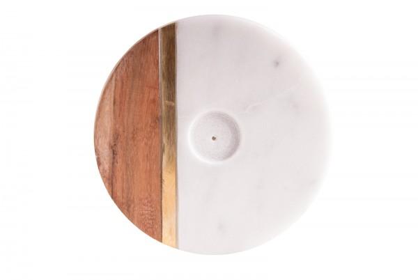 Räucherstäbchenhalter aus Marmor, Holz und Messing
