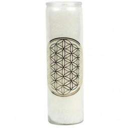Duftkerze Blume des Lebens - Weiß mit Gold im Glas