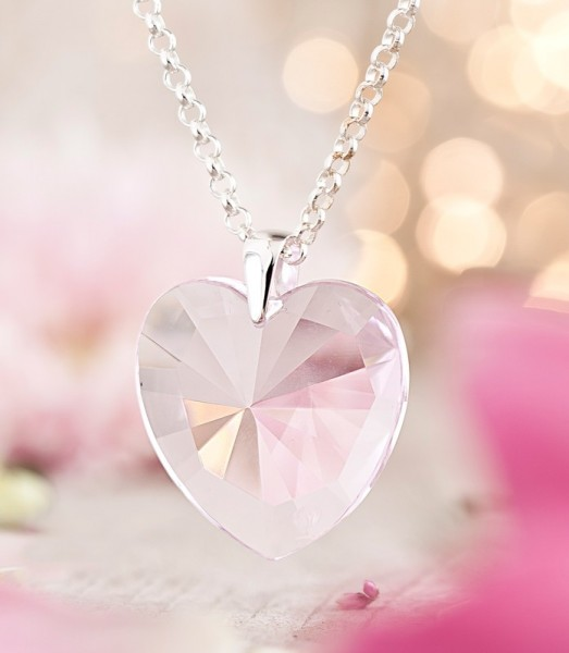Elohim Kristall-Herz Rosa Strahl Set